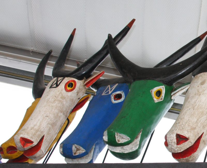 Wood Carved Painted Cow Masks