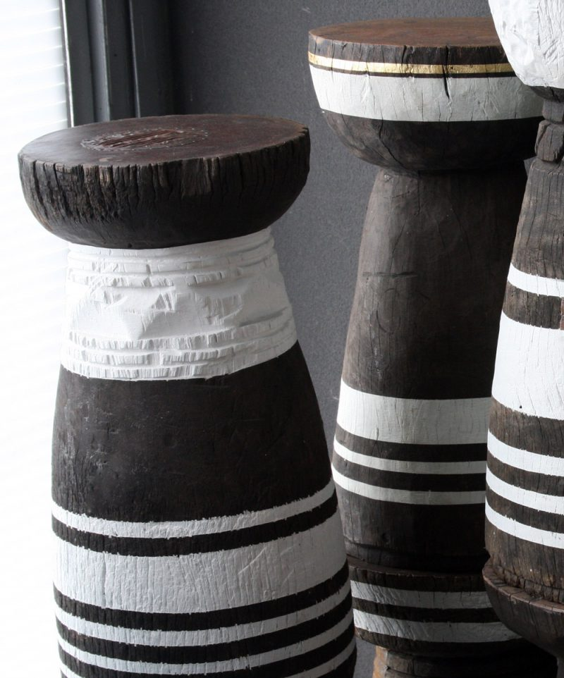 african decor - old african grain pots painted