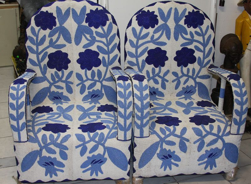 African Yoruba Armchairs Blue and White Full Arm Rest