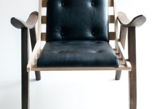 Wood & Leather Upholstered Chair 5