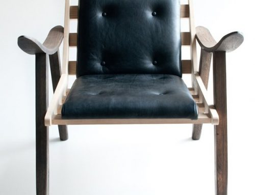 Wood & Leather Upholstered Chair
